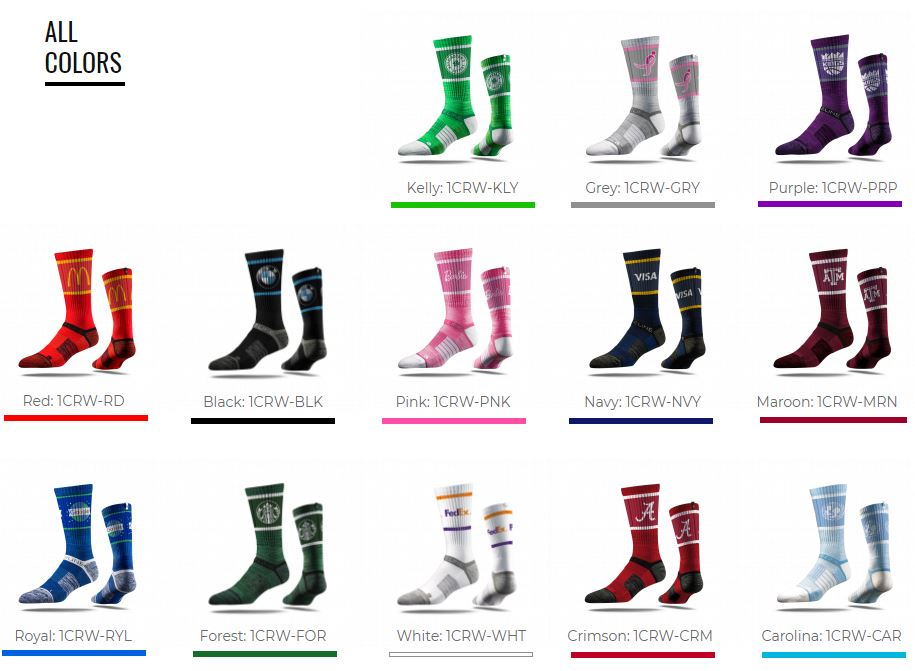 All color socks best promotional products for your for T shirt printing smyrna ga